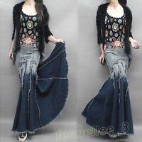 Womens Denim Slim Tassels Gown Long Mermaid Dress Jeans Maxi Skirt Casual Dress