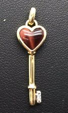 Sterling Silver Gold Tone Heart Tiger's Eye CZ Accent Skeleton Key Love Pendant