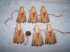 6~Valentine's Day~Primitive~Girl~Fussy Cut~Linen Cardstock~Gift~Hang~Tags~ Ornies