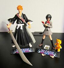 "Bleach Ichigo Kurosaki & Rukia Kuchiki Figure Pair 7"" & 6"" Toynami Anime e Kon"