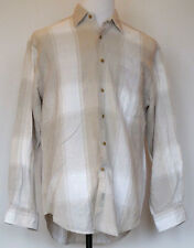 Nautica Tan Plaid Button-Front Cotton/Linen L/S Shirt M