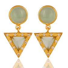 18K Gold Plated Pyramid Drop Earrings Chalcedony Gemstone fashion Jewelry
