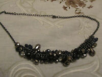 """Dark Grey Tone Metal with Faceted Dark Blue Beads Chain Necklace - 17-19.5"""" long"""