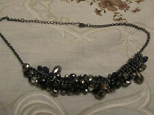 "Dark Grey Tone Metal with Faceted Dark Blue Beads Chain Necklace - 17-19.5"" long"