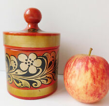 Russian Khokhloma pot lidded lacquered canister storage jar