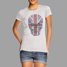 Women's Rhinestone Union Jack Skull Diamante T-Shirt
