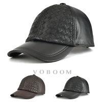Casquette de base-ball en cuir pour hommes chapeau en cuir réglable hiver chaud