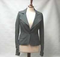 ALL SAINTS WOMEN'S GREY HERRINGBONE FINE WOOL BLEND JACKET BLAZER UK 10