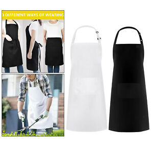 Cooking Apron with Pocket Adjustable Bib BBQ Drawing Accessories Solid Color