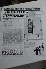 Ancienne publicité de presse - REFRIGERATEUR ELECTRIQUE FRIGECO