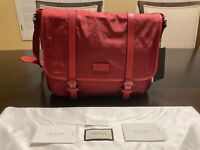 New Gucci Nylon Leather Large GG Guccissima Red Messenger Bag