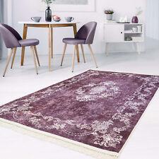 Teppich Flachflor Polyester Waschbar Klassisch Ornamente Mäander Lila