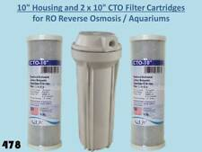 "10"" Housing and 2x10"" CTO Filter Cartridges for RO Reverse Osmosis/Aquariums 478"