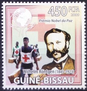 Error in Name print, Nobel Peace winner X Rontgen, Guinea Bissau 2009 MNH
