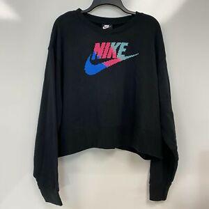 Nike Womens Black Fleece Crewneck Logo Cross-Stitch Sweatshirt Plus Size 2X $65