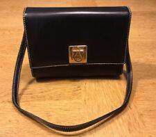 Vintage Salvatore Ferragamo Black Leather Clutch or Strap Handbag, Purse, Clasp