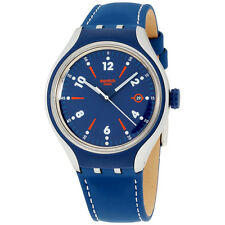 Swatch Irony Go Run Blue Dial Leather Strap Men'S Watch Yes4000