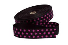1 m Gurtband in schwarz mit pinken Sternen  30 mm
