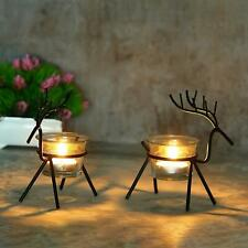 Christmas Reindeer Candles Holder -2 Pcs (Black) Reindeer Shaped Tealight Holder