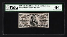 Fr 1291 - 25 Cent 3rd Issue Fractional Currency Colby Spinner Red Back - Pmg 64
