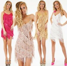 Mini Kleid Fransen Party Tanzkleid Glitzer Pailletten Silvester Abendkleid 36/38