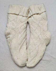 Joe Boxer Soft Cozy Sherpa Lined Cable Knit Slipper Socks - Women's Shoe (4/10)