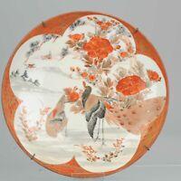 Antique 19c Peacock Lovely Japanese Porcelain Plate in Kutani Style Porcelain