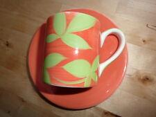 WHITTARD Espresso Coffee Cup Saucer ORANGE GREEN Modern Retro Gourmet Chic FAB!!