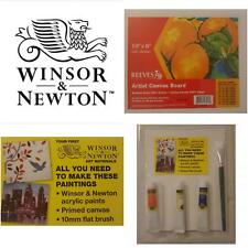 Winsor and Newton Acrylic Paints and 10mm Brush Reeves Artist Canvas Board