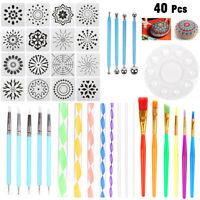 40pcs Mandala Dotting Tool Set Rock Painting Kit Dot Art Pen Paint Stencil Gift