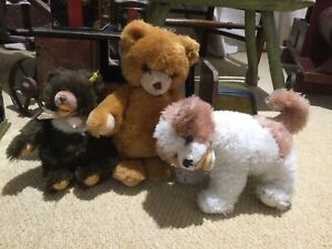 Steiff Vintage Bears Plus Dog All With Buttons.