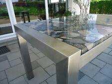 Edelstahltisch Esstisch Wohnzimmertisch  mit Steinplatte Naturstein Schreibtisch
