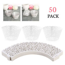 50 Filigree Vine Cupcake Wrapper Lace Case Laser Cut Party Wedding Birthday Gift
