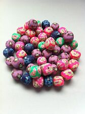 25 beads fimo cube flowers 0 15/32in x 0 15/32in
