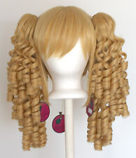 18'' Ringlet Curly Pig Tails + Base Butterscotch Blonde Cosplay Lolita Wig NEW
