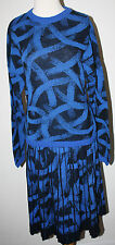 MISSONI Orange Label Royal Blue & Black Wool Knit Skirt Sweater Set Suit 44 L