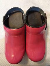 Sanita Fuchsia Hot Pink Patent Leather Danish Clogs 38 7.5 Cooks Chefs Nurses