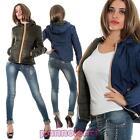 Giacca a vento donna double face trapuntata cappuccio zip nuovo MY13-8838-2