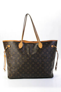 Louis Vuitton Coated Canvas Neverfull Tote Handbag Brown Size Extra Large