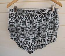 Rusty Women's Black White & Blue Animal Print Shorts - Size 12