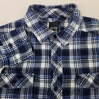 MICROS Long Sleeve Flannel Shirt Men's Size Small Plaid Checks Blue