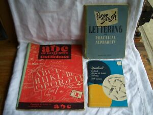 3 Old Lettering Books (ABCs Speedball Textbook Pen and Brush) *SHIPS FREE 2 US!