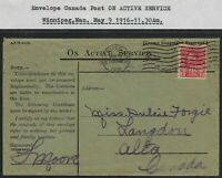 Scott MR6: 2c+1c War Tax Coil - 1916 Winnipeg cancel ON ACTIVE SERVICE envelope