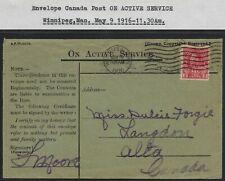 Scott MR6: 2c+1c War Tax Coil - 1916 Winnipeg cancel ON ACTIVE SERVICE envelope