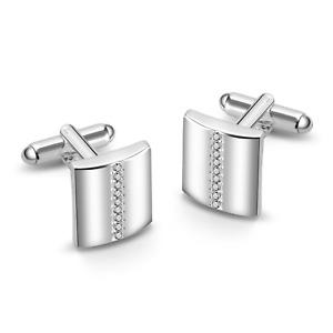 Silver Cufflinks Created with Swarovski® Crystals by Philip Jones