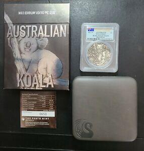 2017-P Australia Koala Antique Finish High Relief PCGS MS69 2 oz Silver Coin OGP