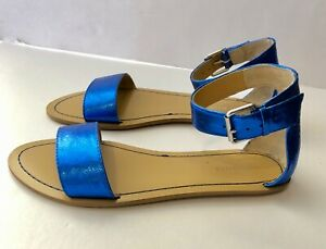 NINE WEST Women's Sandals Blue Metallic with Buckle Ankle Strap, Size 7.5 NEW