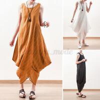 UK STOCK Women Sleeveless Dress Striped Asymmetric Summer Plus Size Maxi Dress