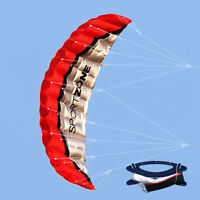 Huge 2.5m Dual Line Parafoil Parachute Stunt Sport Beach Outdoor Toys RED Kite