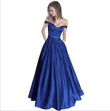 Womens Satin Off Shoulder Evening Wedding Party Flared Dress Cocktail Prom 4640